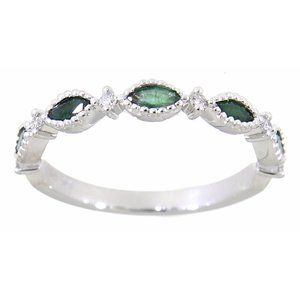 Emerald Diamond Marquise Band Jewelry White Gold